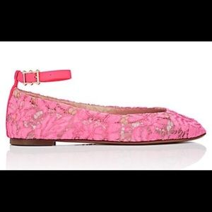 Valntino Lace Ankle-Strap Flats